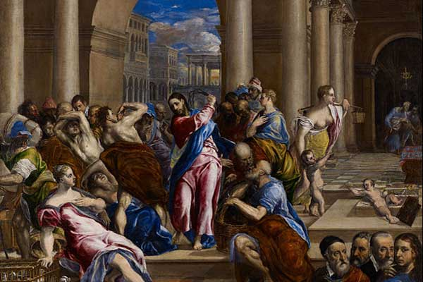 """Tableau de El Greco """"Christ Driving the Money Changers from the Temple"""""""